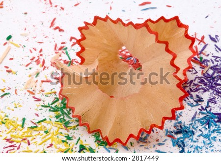 Red pencil shavings - macro - stock photo