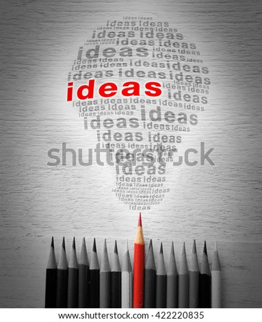 Red pencil with a light bulb idea. - stock photo