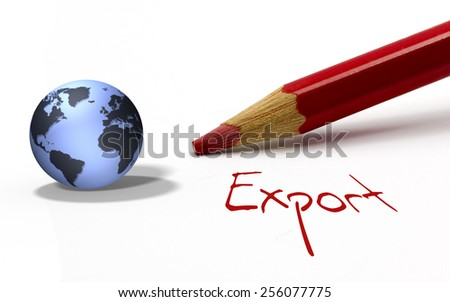 Red pencil with globe - Export - stock photo