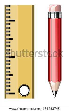 Red pencil with ruler, education concept - stock photo