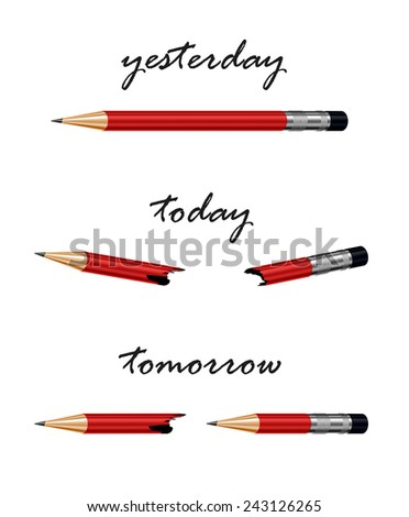 Red pencil with words tomorrow, today and yesterday. Conceptual illustration, metaphor for solution, strategy, challenge,progress - stock photo
