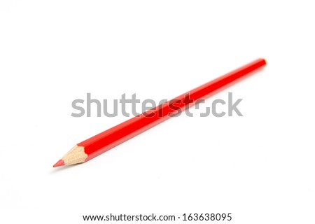red pencils isolated on white background close up - stock photo