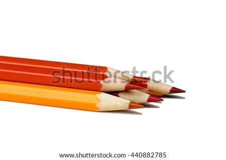 Red pencils isolated on white background.Close up.