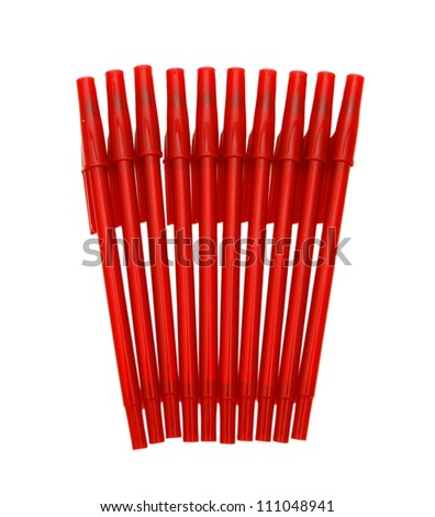 Red pens isolated on a white background - stock photo