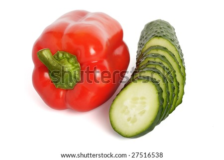Red pepper and cucumber are isolated on a white background