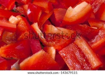 Red pepper blocks and slices - stock photo