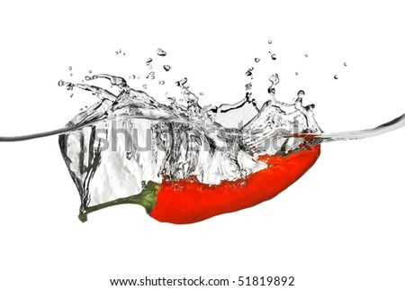 red pepper dropped into water with splash isolated on white - stock photo