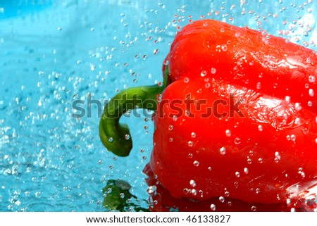red pepper in water - stock photo