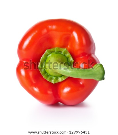Red pepper isolated on white background, fresh vegetable, top view - stock photo