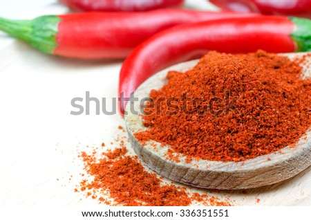 Red pepper powder on a wooden spoon and peppers in the background