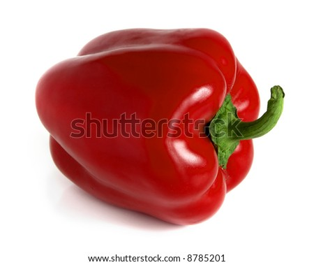 Red pepper with white background - stock photo