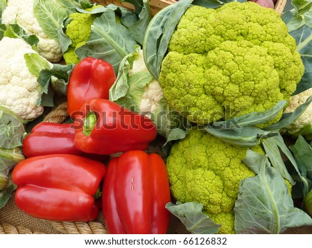 Red peppers and cauliflower - stock photo