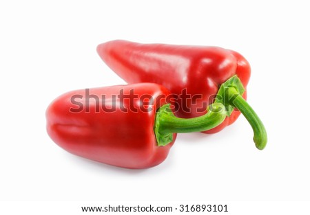 red peppers isolated on a white background - stock photo