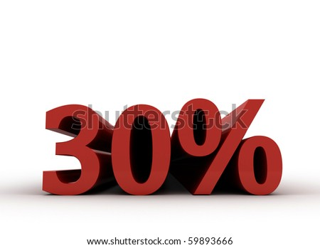 Red 30 percent, isolated on white background. 30% - stock photo