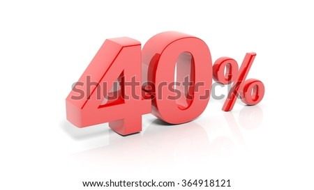 Red 40 percent number, isolated on white background.