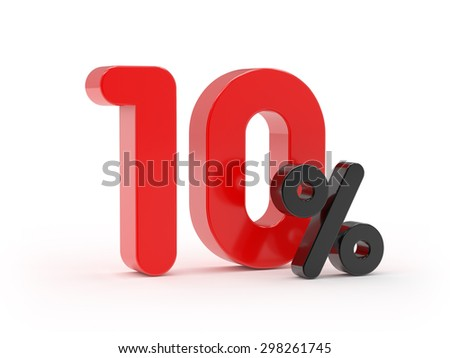Red 10 percent on white background - stock photo