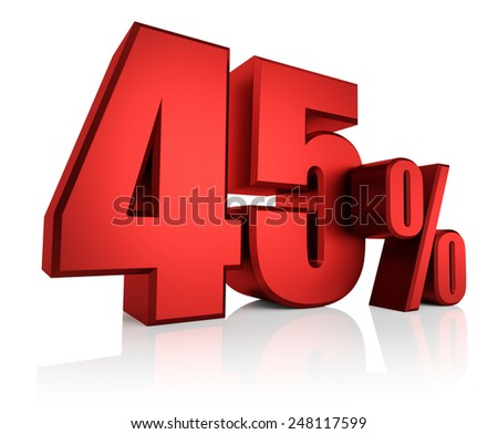 Red 45 percent on white background. 3d render discount - stock photo