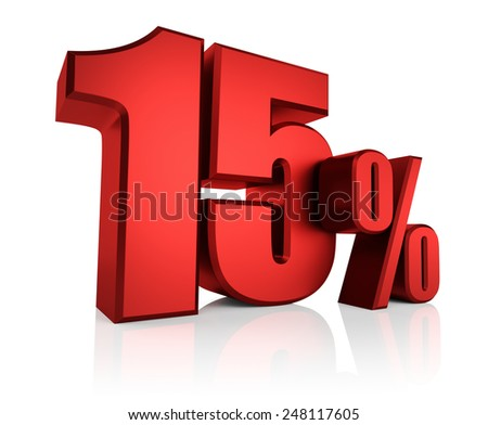 Red 15 percent on white background. 3d render discount - stock photo