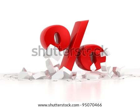 Red Percent Sign over white background - stock photo