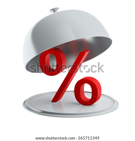 Red percent sign with silver platter isolated on white background - stock photo