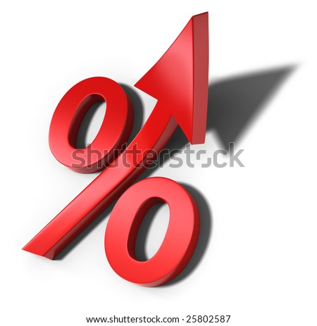 Red percent sign with upward arrow and shadow (3d illustration) - stock photo
