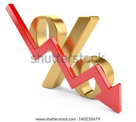 red percent  symbol with an arrow down. 3d illustration isolated on a white - stock photo