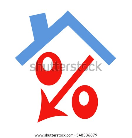 Red percent under the roof - stock photo