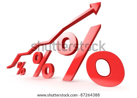 red Percent with arrow on whitw background - stock photo