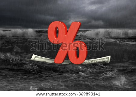 Red percentage sign on money boat floating with oncoming wave in dark - stock photo