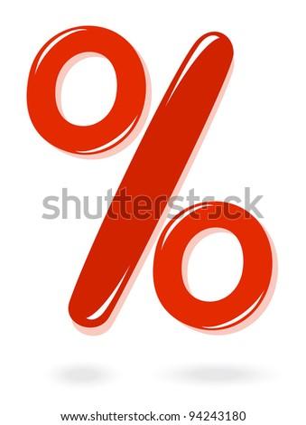 Red percentage symbol - stock photo