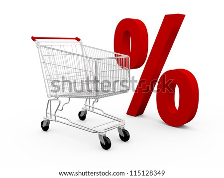 Red percentage symbol and shopping cart, isolated on white background. - stock photo
