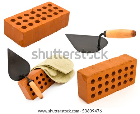 Red perforated ceramic brick, trowel and gauntlet set isolated on white