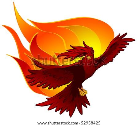 Red phoenix bird rising flames vector stock illustration 52958425 red phoenix bird rising from flames vector version available in portfolio voltagebd Choice Image