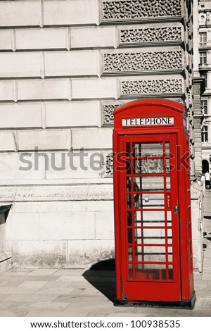 Red phone booth is one of the most famous of London icons - stock photo