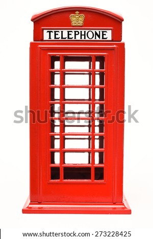 Red phone booth isolated on white background - stock photo