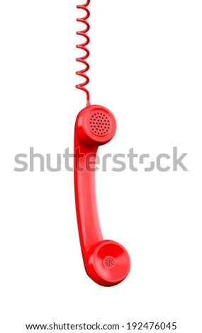 Red Phone Receiver , Clipping path , 3d render - stock photo
