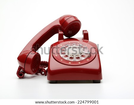 Red phone,vintage - stock photo