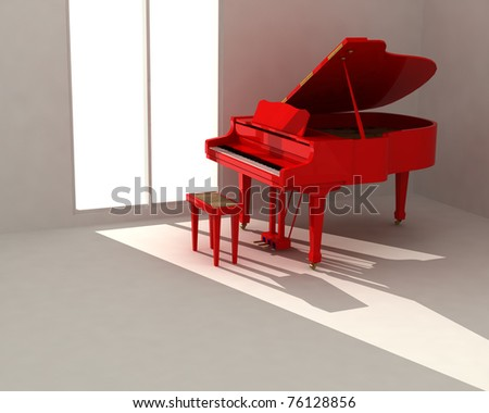 Red piano in white room - stock photo