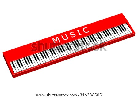 Red piano with word music, isolated on white background.   - stock photo