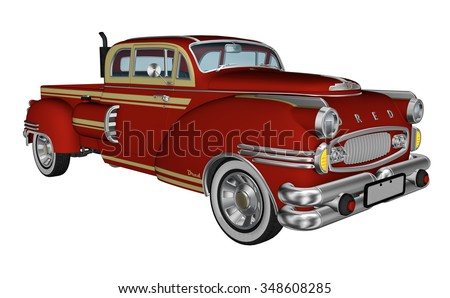 Red pickup truck isolated in white background - 3D render - stock photo