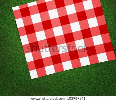 Red Picnic Blanket - stock photo