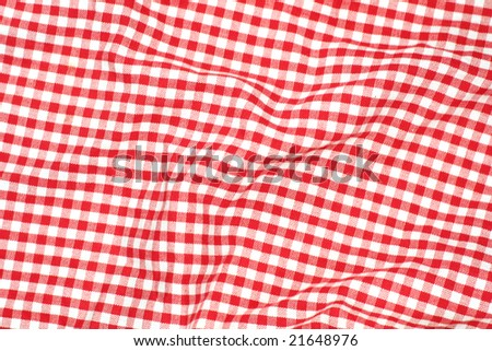 Red picnic cloth - red and white checks - stock photo