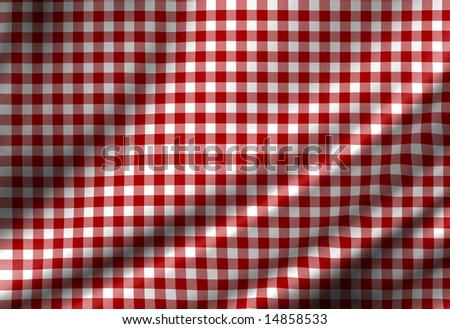 red picnic cloth with some smooth folds - stock photo
