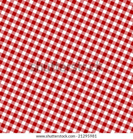 Red picnic fabric with straight lines in it - stock photo