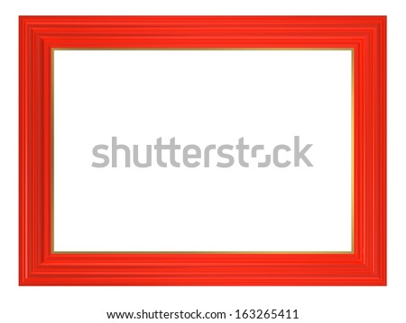 Red picture frame. Computer generated 3D photo rendering. - stock photo