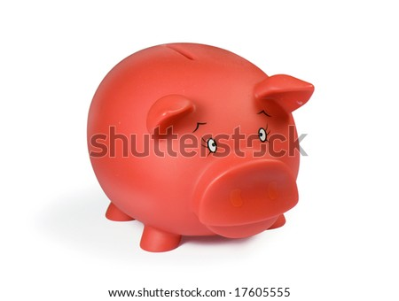 Red piggy bank, isolated on white with soft shadow