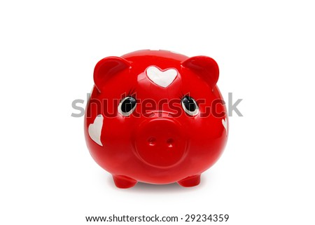 Red piggy bank with hearts with clipping path - stock photo