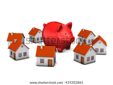 Red piggy bank with house buildings on the white. 3d illustration.