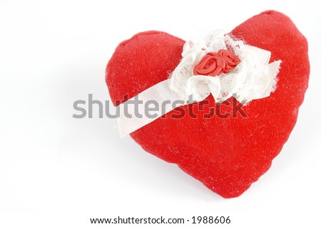 red pillow heart over white - background love - stock photo