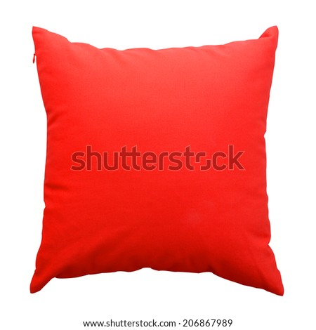 red pillows isolated on white background - stock photo